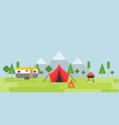summer camping tent camper barbecue and bonfire vector image