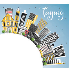Taguig philippines city skyline with color vector