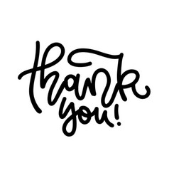 thank you handwritten linear inscription hand vector image