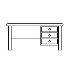 Thin line desk icon vector