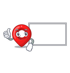 thumbs up with board gps navigation pin on vector image