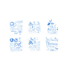 triathlon club logo set i love sport hand drawn vector image