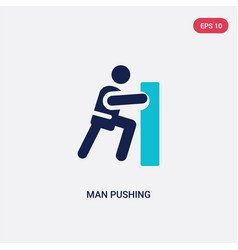 Two color man pushing icon from behavior concept vector