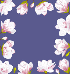 vintage border made of beautiful magnolia flowers vector image