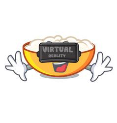 Virtual reality cottage cheese mascot cartoon vector