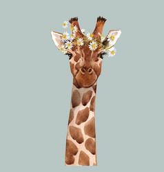 Watercolor giraffe portrait vector