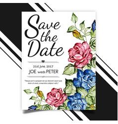 Watercolor wedding card template vector