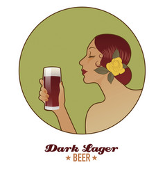 Woman holding a glass of beer dark lager vintage vector