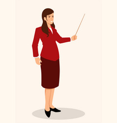 Woman showing something with pointer stick vector
