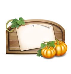 wooden banner with orange pumpkins vector image