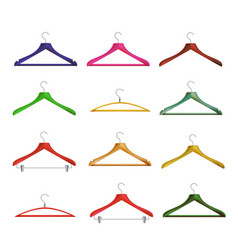 Wooden clothes hangers different clothes vector