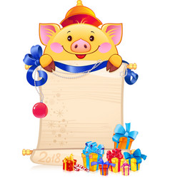 Yellow earthy pig is a symbol of the new 2019 year vector