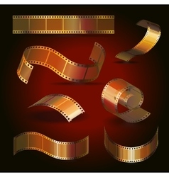 Camera film roll gold color set vector image