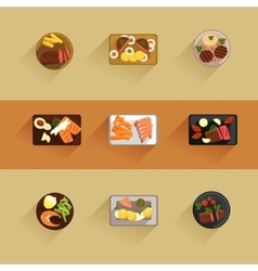 Fish and meat steaks cooking icon flat isolated vector image
