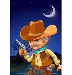 Nighttime Cowboy vector image