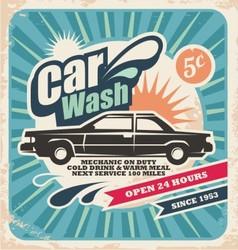 Retro car wash poster vector image vector image
