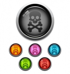 skull button icon vector image vector image