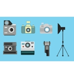 camera vintage flat icon set film roll photography vector image