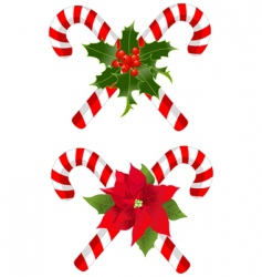 Christmas candy cane decorated designs vector image vector image
