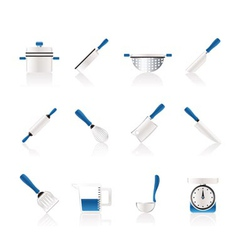 cooking equipment and tools icons vector image vector image