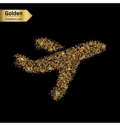 Gold glitter icon of airplane isolated on vector image vector image