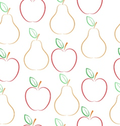 Pears and apples pattern over white background vector image vector image