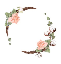 Rose and cotton wreath vector