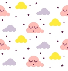 Sleepy clouds girlish seamless pattern vector image vector image
