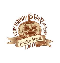 trick or treat retro happy halloween party vector image