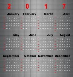 Business template of 2017 calendar on grey table vector