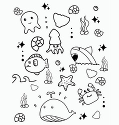 doodle cute marine lifedoodle drawing style hand vector image
