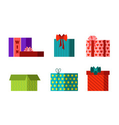 gift box anniversary event satin greeting object vector image