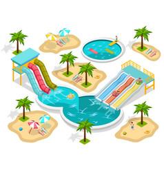 isometric aqua park composition vector image