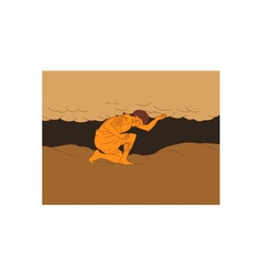 Samoan atlas holding sky from earth drawing vector
