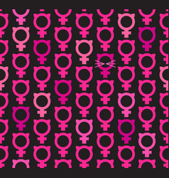 seamless pattern of female symbols with cat ears vector image vector image