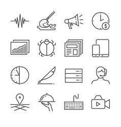 freelance jobs line icon set 2 vector image
