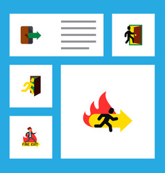 icon flat emergency set of exit fire exit vector image vector image