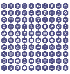 100 conference icons hexagon purple vector