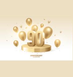 90th anniversary celebration background vector
