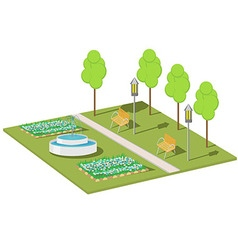 A Park with a fountain benches lights and trees vector