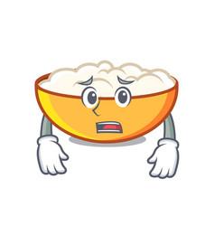 Afraid cottage cheese mascot cartoon vector