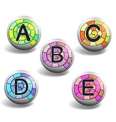 Alphabet on round badge vector