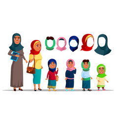 arabian characters women wearing hijab vector image