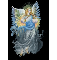 Beautiful angel with wings in black background vector image