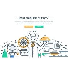 Best Cuisine In the City - line design website vector