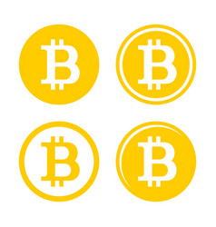 Bitcoin sign logo set vector