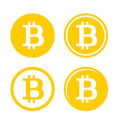 bitcoin sign logo set vector image