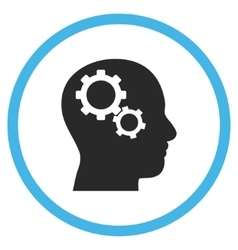 Brain Gears Flat Rounded Icon vector image