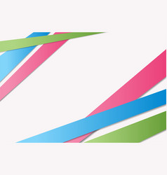 bright greenbluepink stripes with shadowsabstract vector image
