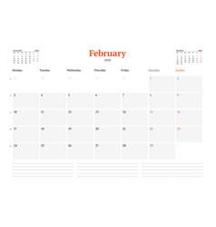 Calendar template for february 2020 business vector